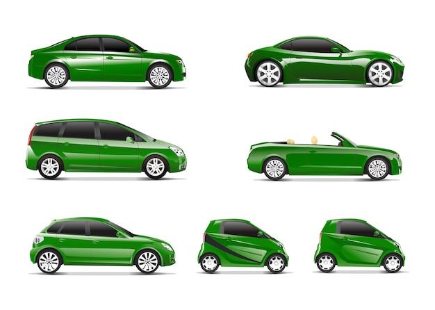 Imagen tridimensional del coche verde aislada sobre fondo blanco