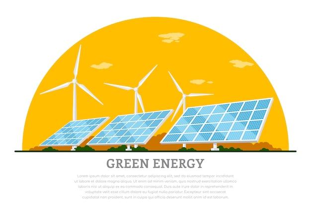 Imagen de turbinas eólicas y paneles solares, banner de concepto de energía solar y eólica renovable