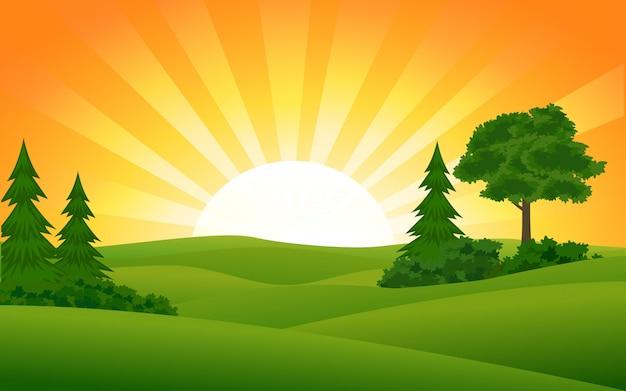 Imagen del vector del atardecer de verano con rayos de sol
