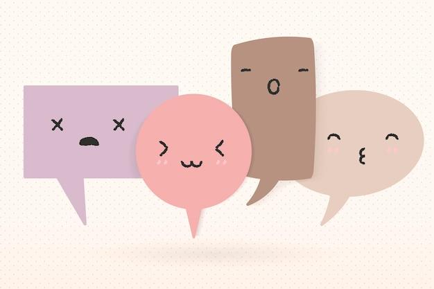 Imagen de vector de burbuja de discurso lindo, diseño plano pastel