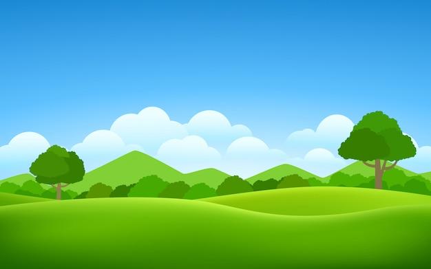 Imagen de vector de campo de hierba, arbustos y árboles