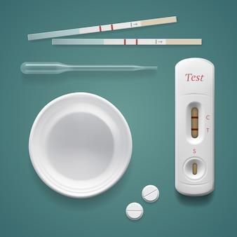 Imagen de vector de fondo aislado kit de prueba de embarazo positiva