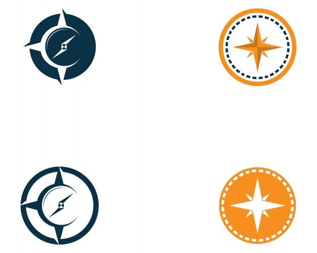 Imagen de vector de icono de plantilla de logotipo de brújula