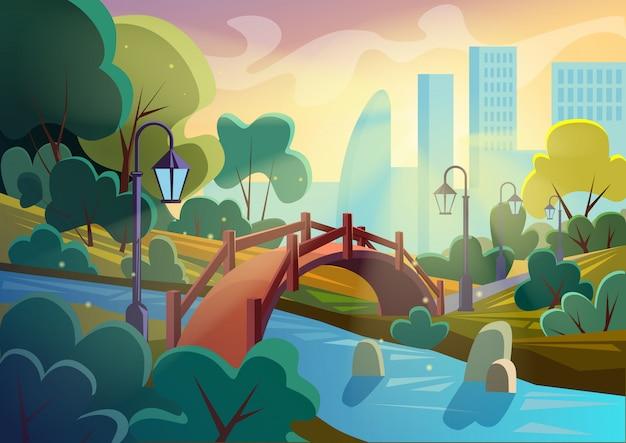 Imagen vectorial brillante del parque de dibujos animados de otoño de verano con puente sobre un río pequeño en destellos con la ciudad de fondo. juego de diseño suave.