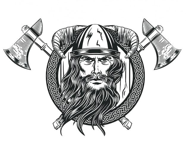 Imagen vectorial de la cabeza de un vikingo en un casco con cuernos.