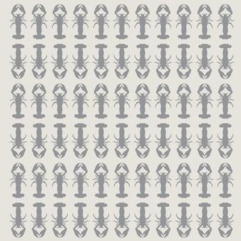 Imagen vectorial de camarones de patrones sin fisuras