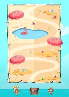Imagen vectorial de la interfaz de usuario de desplazamiento vertical del mapa de nivel para dispositivos móviles hola verano, el juego de rompecabezas