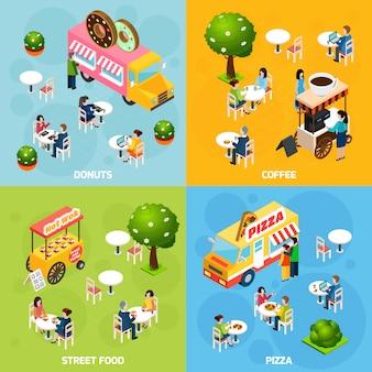 Imagen vectorial isométrica de comida callejera con personajes