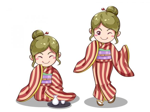 Imagen vectorial de niña japonesa