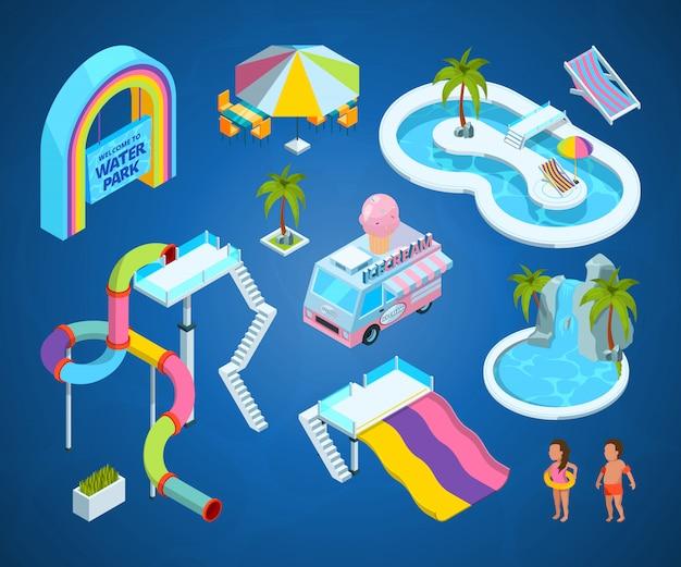 Imágenes en 3d de las atracciones del parque acuático.