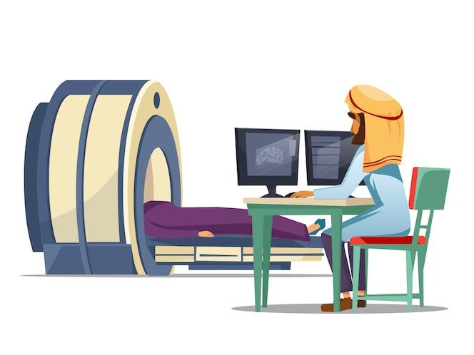 Imágenes de resonancia magnética del paciente tomografía computarizada resonancia magnética paciente concepto.