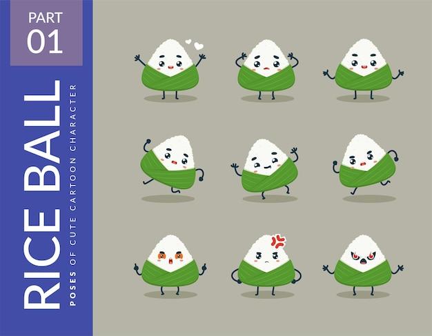 Imágenes de dibujos animados de la bola de arroz. colocar.