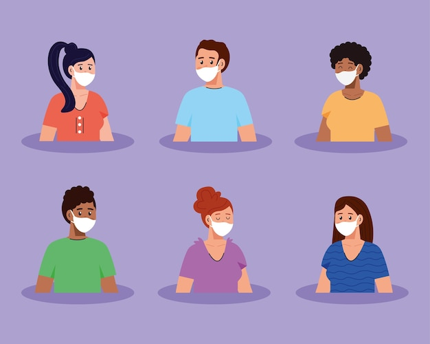Imágenes de grupo de jóvenes con máscara médica.