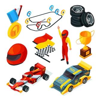 Imágenes isométricas de autos de carrera y símbolos de fórmula 1
