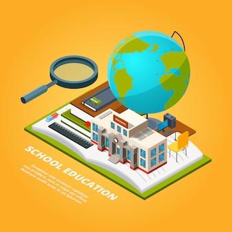 Imágenes isométricas de educación. composición edificio escolar