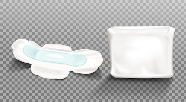 Imágenes prediseñadas de compresa sanitaria y paquete de plástico en blanco