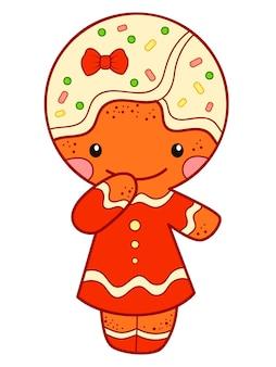 Imágenes prediseñadas de dibujos animados de navidad. ilustración de vector de imágenes prediseñadas de hombre de pan de jengibre.