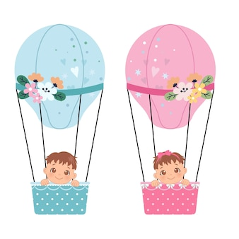 Imágenes prediseñadas de revelación de género de niño o niña bebé lindo en globo de aire caliente diseño de dibujos animados de vector plano