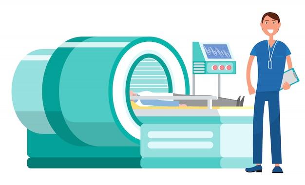 Imágenes de resonancia magnética de la máquina y doc.