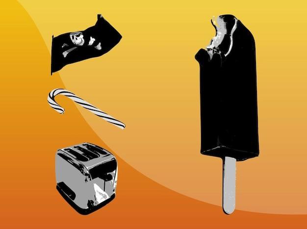 Imágenes vectoriales ilustración en blanco y negro