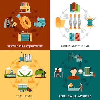 Imágenes vectoriales de textil molino