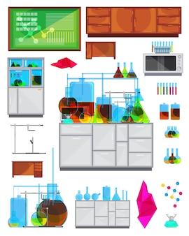Imágenes de la vista frontal del banco y el equipo de los muebles de laboratorio químico con gabinetes, tubos, líquidos