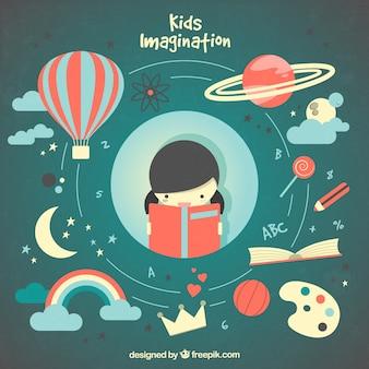 Imaginación de la niña ilustrada