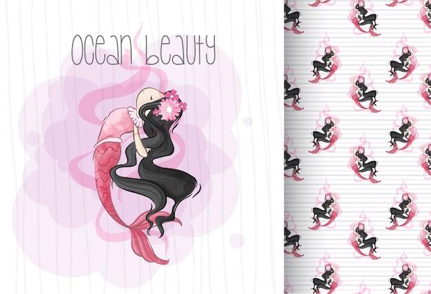 Imaginación de sirena linda de dibujos animados con patrones sin fisuras