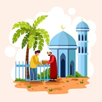 Imam presenta el corán a los creyentes islámicos frente a la mezquita. la media luna y la cúpula de la mezquita islámica.