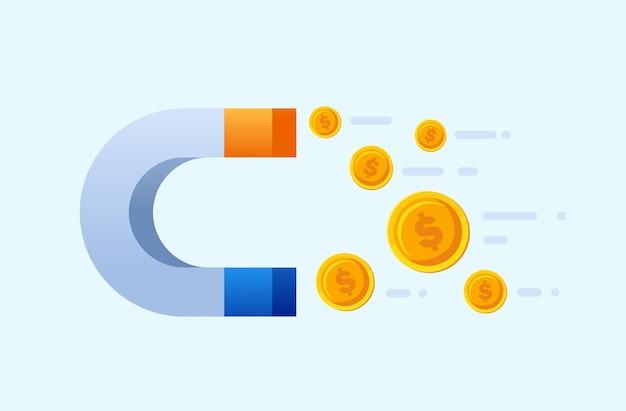 Imán con dinero volador o moneda de beneficio empresarial página de aterrizaje ilustración vectorial desi plana del sitio web