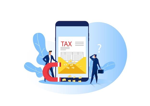 Imán de inspector de hombre atrayendo dinero para impuestos de una billetera de empresario Vector Premium