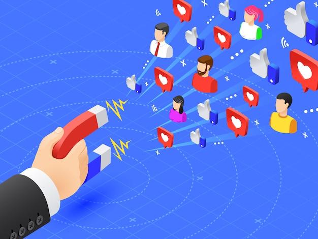 Imán de marketing que atrae seguidores. a las redes sociales les gusta y sigue el magnetismo. influencer anunciar ilustración de vector de estrategia