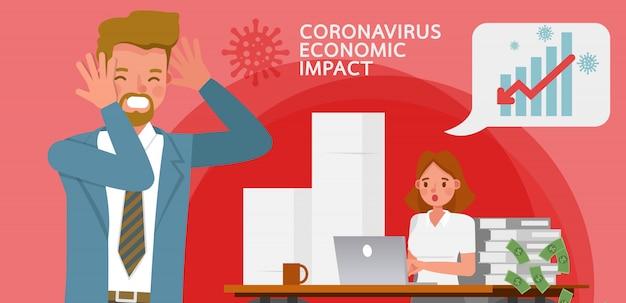 El impacto del coronavirus en la bolsa de valores y la economía global. gente de negocios .
