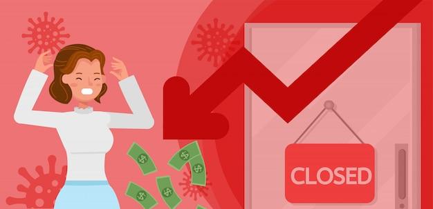 El impacto del coronavirus en la bolsa de valores y la economía global. mujer de negocios .