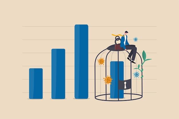 Impacto económico por el bloqueo de covid-19, el pib y la disminución de los ingresos de la empresa debido al concepto global de caída del coronavirus