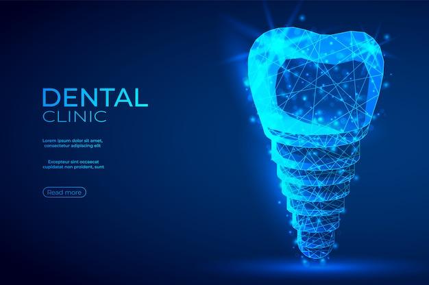 Implante dental ingeniería genética poligonal banner azul abstracto.