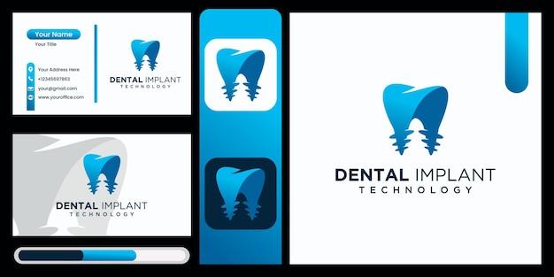 Implantes dentales clinica tecnologia diseño de logotipos implantes dentales vector logo icono moderno logo dental