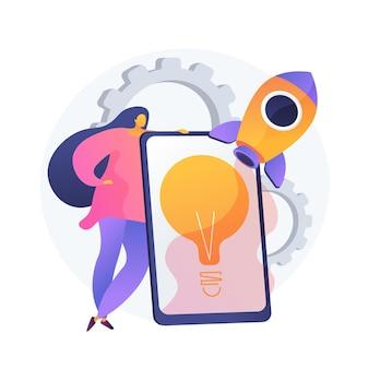 Implementación de ideas. lanzamiento de startups, pensamiento creativo, soluciones innovadoras. empresaria, inversionista, gerente que inicia el proyecto empresarial. ilustración de metáfora de concepto aislado de vector
