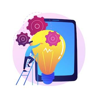 Implementación de ideas. lanzamiento de startups, pensamiento creativo, soluciones innovadoras. empresario, inversor, gerente de proyecto empresarial de inicio