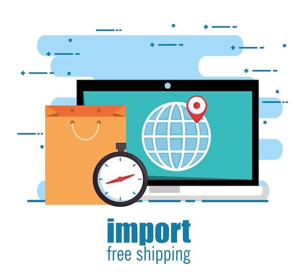 Importación gratis envío portátil en línea