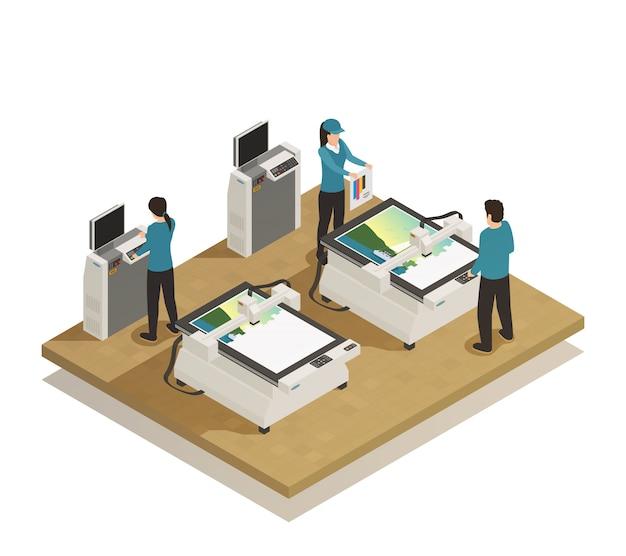 Imprenta producción isométrica