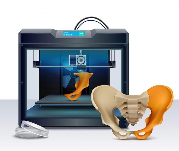 Impresión 3d de huesos humanos composición realista ilustración vectorial