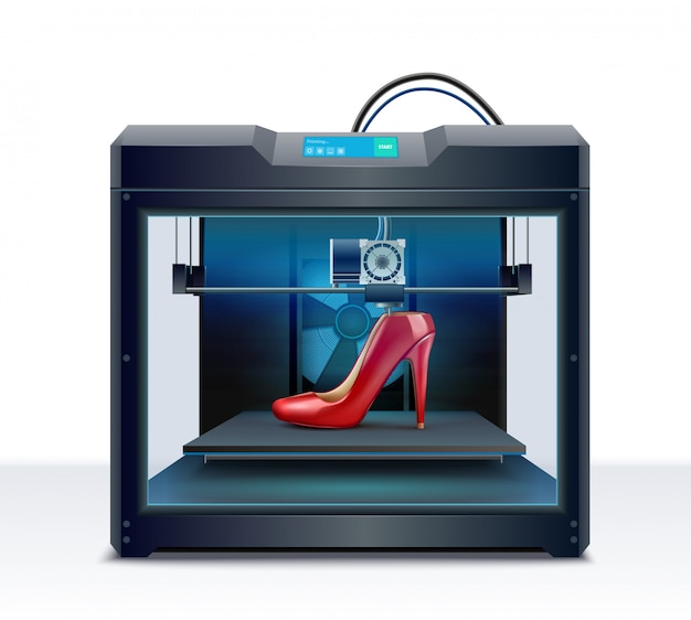 Impresión 3d de ilustración de vector de composición isométrica de proceso de zapato de tacón rojo