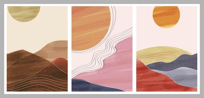 Impresión de arte minimalista moderno de mediados de siglo. conjunto de paisajes de fondos estéticos contemporáneos abstractos