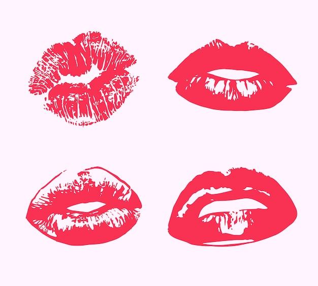 Impresión de beso de lápiz labial aislado
