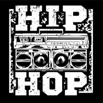 Impresión en blanco y negro de estilo urbano con gran boombox para hip hop o tipo de música rap.