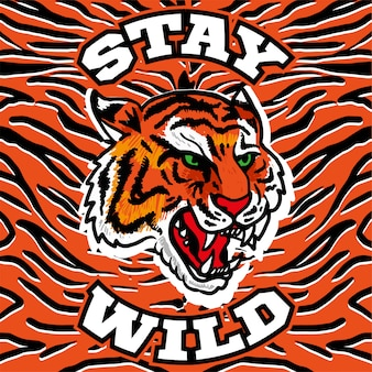 Impresión de bordado con cabeza de tigre salvaje enojado con la frase