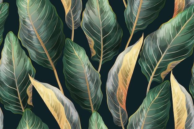 Impresión botánica con hojas exóticas