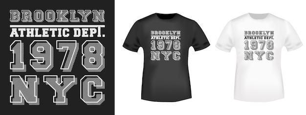 Impresión de la camiseta de brooklyn nyc para apliques de camisetas.