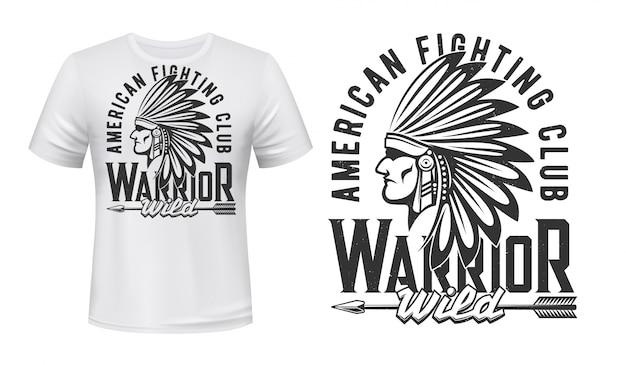 Impresión de camiseta de guerrero indio, club de lucha